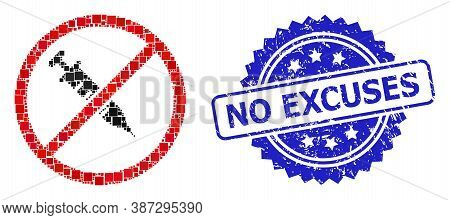 Vector Collage Stop Vaccine, And No Excuses Grunge Rosette Stamp. Blue Stamp Includes No Excuses Tit