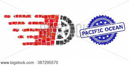Vector Mosaic Tire Wheel, And Pacific Ocean Unclean Rosette Stamp Seal. Blue Stamp Seal Has Pacific
