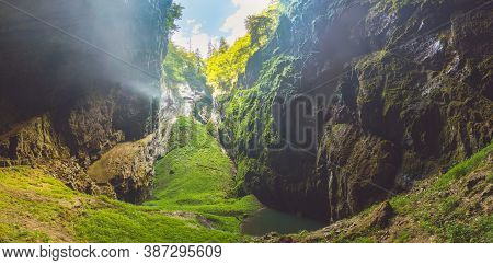 Macocha Gorge - The Macocha Abyss - Propast Macocha. Sinkhole In The Moravian Karst Punkva Caves Sys
