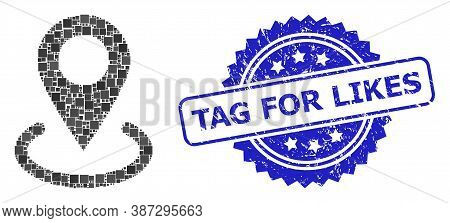 Vector Mosaic Location, And Tag For Likes Scratched Rosette Seal Imitation. Blue Stamp Seal Has Tag