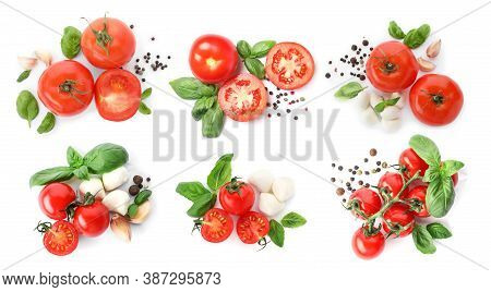 Set Of Ripe Red Tomatoes, Mozzarella Balls, Garlic And Peppers Mix On White Background, Top View