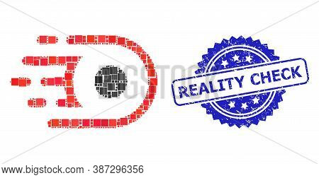 Vector Collage Speed Core, And Reality Check Scratched Rosette Stamp Seal. Blue Stamp Seal Has Reali