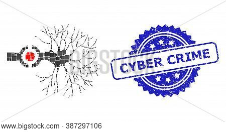 Vector Collage Neuron Digital Interface, And Cyber Crime Corroded Rosette Stamp Seal. Blue Stamp Sea
