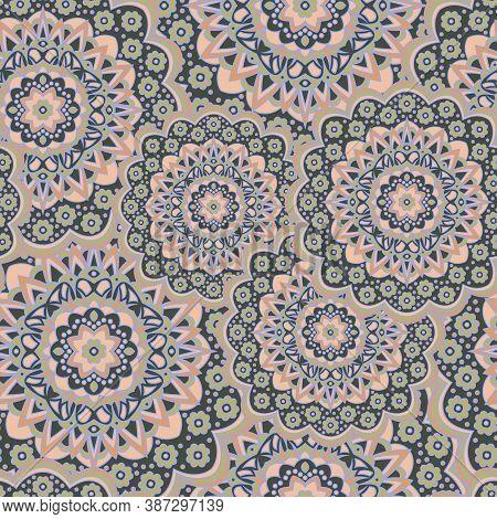 Persian Medallion Flower Seamless Ornament Vector Graphic Design. Pattern Template For Carpet. Orien