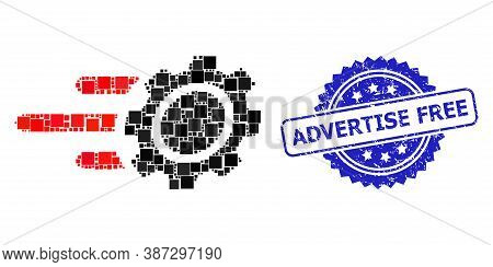 Vector Mosaic Rush Gear, And Advertise Free Grunge Rosette Seal Print. Blue Seal Has Advertise Free