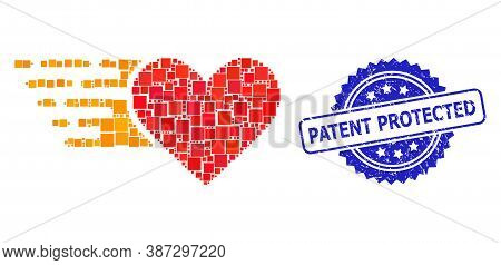 Vector Collage Love Heart, And Patent Protected Scratched Rosette Stamp Seal. Blue Stamp Seal Has Pa
