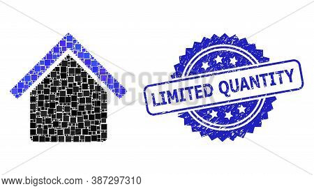 Vector Mosaic House, And Limited Quantity Corroded Rosette Watermark. Blue Seal Contains Limited Qua