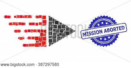 Vector Mosaic Motion, And Mission Aborted Rubber Rosette Stamp. Blue Stamp Seal Includes Mission Abo