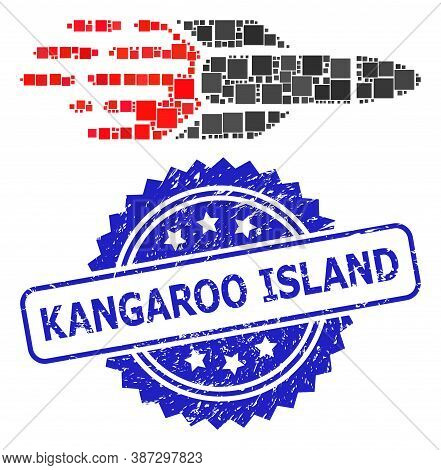 Vector Collage Missile, And Kangaroo Island Grunge Rosette Stamp Seal. Blue Stamp Seal Contains Kang