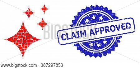 Vector Collage Shine Stars, And Claim Approved Unclean Rosette Stamp Seal. Blue Stamp Seal Contains