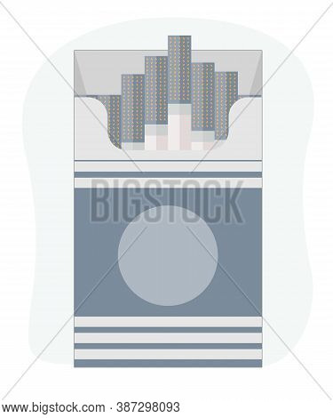 Open Cigarettes Pack Box Flat Style Vector Illustration Isolated On A Background, Icon Logo Design I