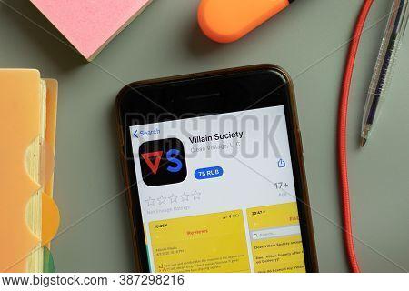 New York, Usa - 29 September 2020: Villain Society Mobile App Logo On Phone Screen Close Up, Illustr