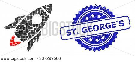 Vector Mosaic Space Rocket, And St. Georges Rubber Rosette Stamp Seal. Blue Stamp Seal Includes St.