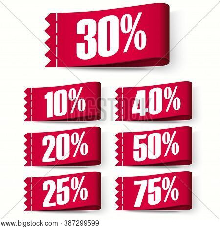 Price-tag Labels, Red Discount Labels. Super Sale. Vector