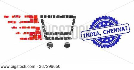 Vector Mosaic Shopping Cart, And India, Chennai Rubber Rosette Stamp Seal. Blue Stamp Seal Includes