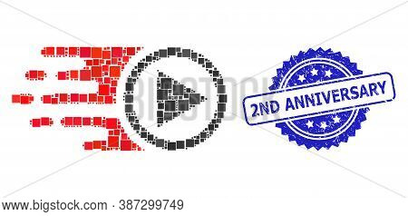 Vector Collage Move Right, And 2nd Anniversary Rubber Rosette Stamp Seal. Blue Seal Includes 2nd Ann
