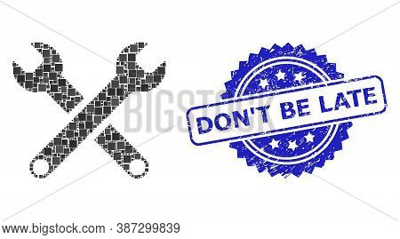 Vector Mosaic Spanners, And Dont Be Late Scratched Rosette Seal Imitation. Blue Stamp Seal Includes