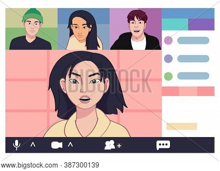 Isolated Friends Call Smartphone Videocall Icon- Vector