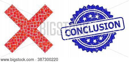 Vector Collage Reject Cross, And Conclusion Scratched Rosette Seal Imitation. Blue Seal Has Conclusi