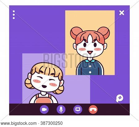Isolated Partners Kids Videocall Smartphone Communication Icon- Vector
