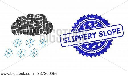 Vector Mosaic Snow Cloud, And Slippery Slope Scratched Rosette Seal. Blue Seal Includes Slippery Slo
