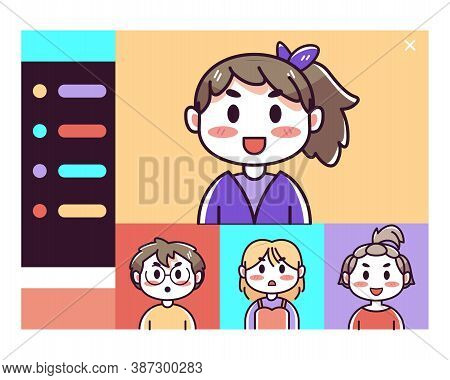 Isolated Girls Kids Videocall Smartphone Communication Icon- Vector