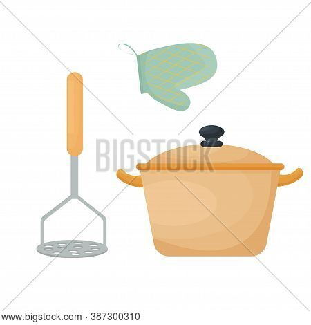 Kitchen Utensil, Pan, Equipment, Set Of Tools For Cooking, Stylish Objects Isolated On White Backgro