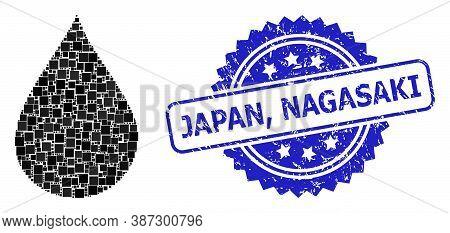 Vector Mosaic Oil Drop, And Japan, Nagasaki Grunge Rosette Seal Print. Blue Seal Has Japan, Nagasaki