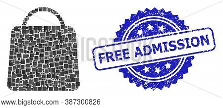 Vector Mosaic Shopping Bag, And Free Admission Grunge Rosette Seal Imitation. Blue Stamp Seal Has Fr