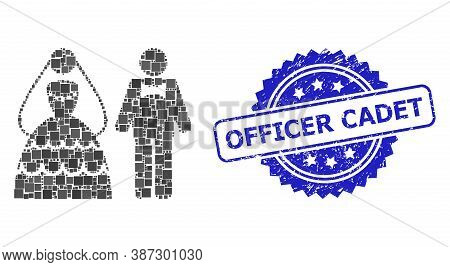 Vector Mosaic Wedding Couple, And Officer Cadet Dirty Rosette Stamp Seal. Blue Stamp Seal Contains O