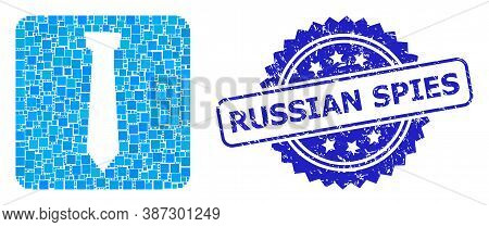 Vector Mosaic Tie, And Russian Spies Dirty Rosette Seal Imitation. Blue Seal Contains Russian Spies