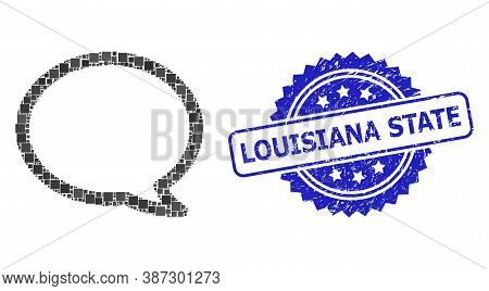 Vector Mosaic Message Cloud, And Louisiana State Rubber Rosette Seal. Blue Stamp Seal Has Louisiana