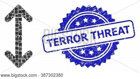Vector Collage Swap Arrows Vertically, And Terror Threat Dirty Rosette Seal Print. Blue Stamp Seal H
