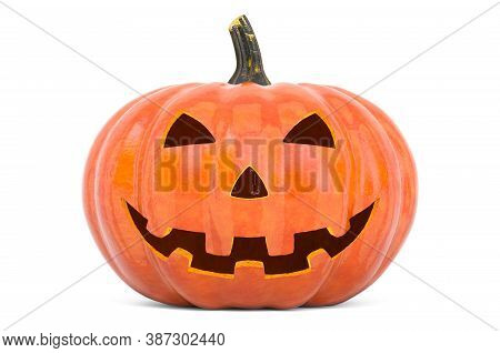 Halloween Pumpkin With Carved Evil Face, 3d Rendering Isolated On White Background