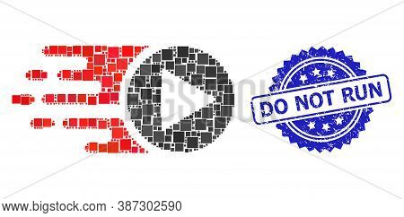 Vector Collage Start Play, And Do Not Run Rubber Rosette Stamp Seal. Blue Stamp Seal Contains Do Not