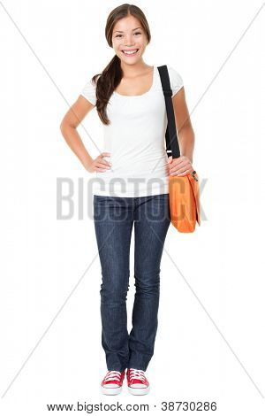 College university student woman. Happy smiling adult female student standing in full body length isolated on white background. Beautiful young multiracial Asian Chinese / Caucasian girl in her 20s