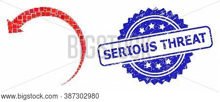 Vector Mosaic Rotate Backward, And Serious Threat Corroded Rosette Seal Imitation. Blue Stamp Seal I