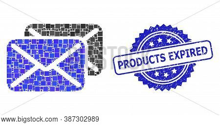 Vector Mosaic Letters, And Products Expired Scratched Rosette Stamp Seal. Blue Seal Contains Product