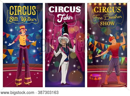 Circus Cartoon Magician, Stilt Walker And Fire Breather Performing Tricks On Big Top Arena. Circus M