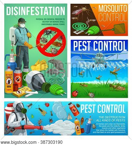 Pest Control, Disinfestation And Deratization Sanitary Service Vector Posters. Aerial Pest Control,