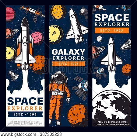 Space Exploration Retro Vector Banners. Galaxy Expedition Adventure Vintage Cards With Astronaut, Sh