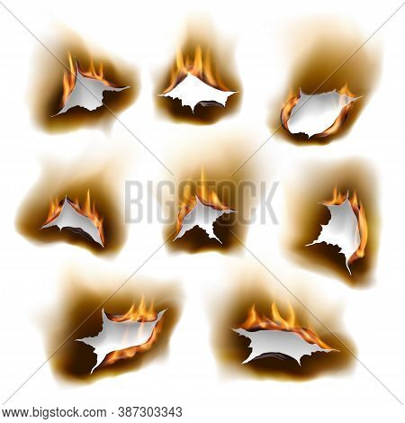 Burnt Paper Holes In Fire, Realistic Burn Orifice With Charred Edges Isolated Vector Objects, 3d Fla