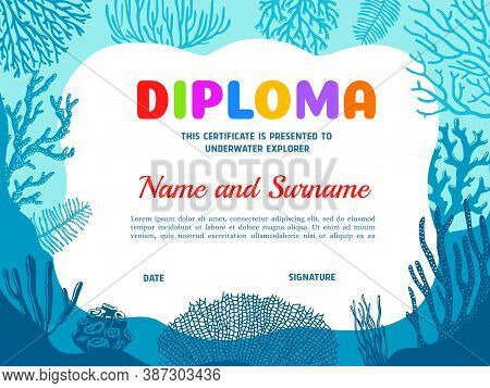 Diploma For Underwater Explorer With Seaweeds Vector Template. Diving Club Certificate With Under Wa