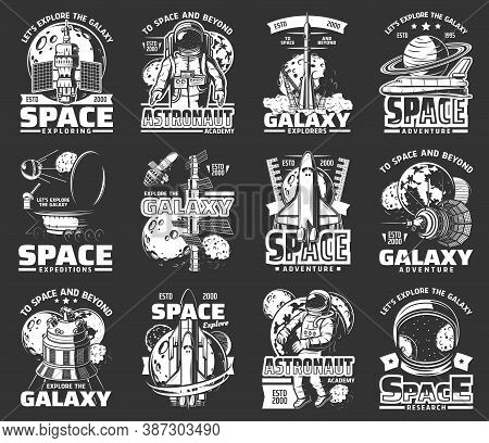 Outer Space Explore Monochrome Vector Icons. Universe Expedition Galaxy Adventure. Astronaut, Space