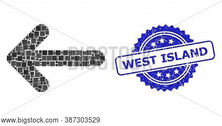 Vector Mosaic Left Arrow, And West Island Grunge Rosette Stamp Seal. Blue Stamp Seal Has West Island