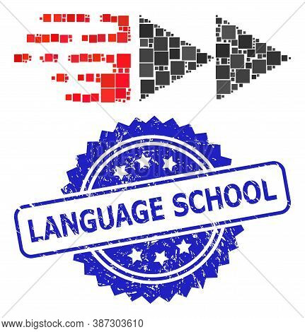 Vector Collage Move, And Language School Corroded Rosette Stamp Seal. Blue Stamp Seal Includes Langu