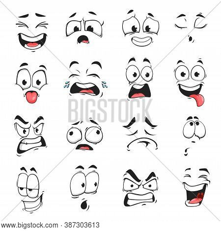 Face Expression Isolated Vector Icons, Funny Cartoon Emoji Exhausted, Crying And Crazy, Angry, Laugh