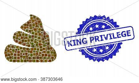 Vector Collage Shit, And King Privilege Scratched Rosette Stamp Seal. Blue Stamp Seal Contains King