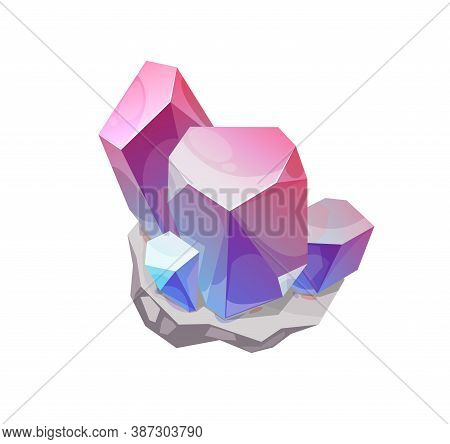 Magic Crystal Vector Rock Gem Stone Of Pink And Blue Colors, Isolated Mineral Crystalline Gemstone S