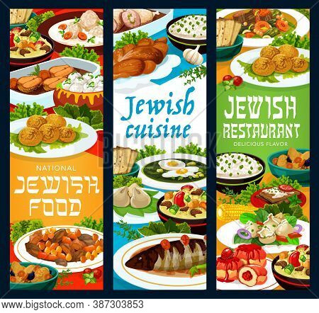 Jewish Food Restaurant Vector Banners With Falafel, Forshmak And Lamb Cholent, Gefilte Fish Meatball
